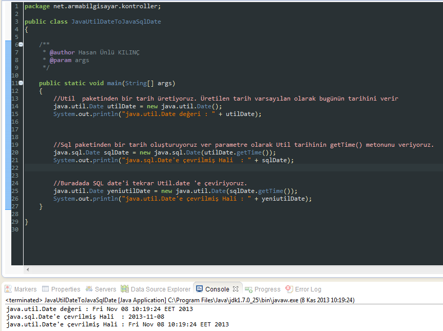 Java – Java.Util.Date'i Java.Sql.Date Çevirme